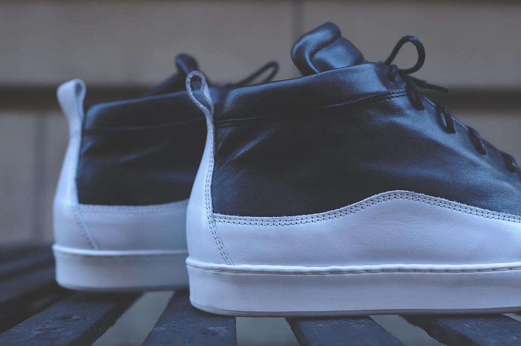 public school x generic man sneaker shoe high top ps creeper black white leather