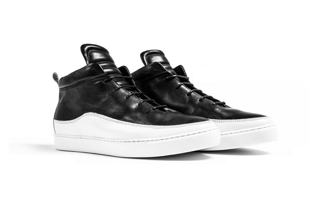 public school x generic man sneaker shoe high top ps creeper black white leather