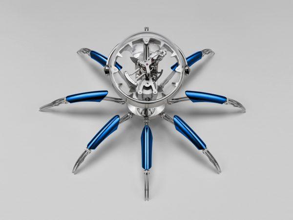 Octopod_mbandf_mb_and_f_spider_clock_blue